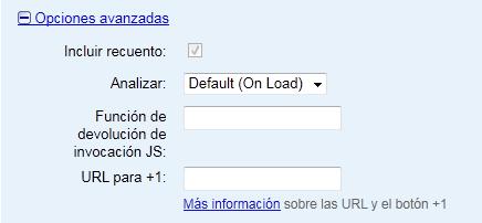 Opciones Avanzadas del Botón +1 de Google
